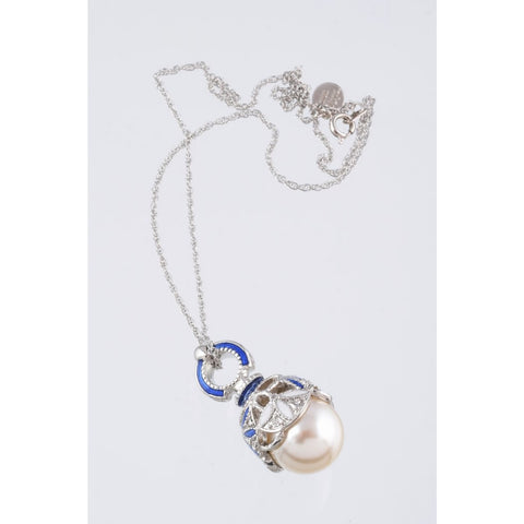 Silver & Blue Pearl Fabrege Egg Styled Pendant Necklace