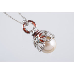 Silver & Red Pearl Fabrege Egg Styled Pendant Necklace