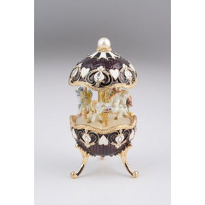 Black Faberge Egg with Horse Carousel
