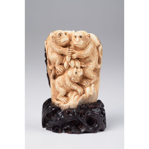 Mammoth Ivory- Family of Monkeys