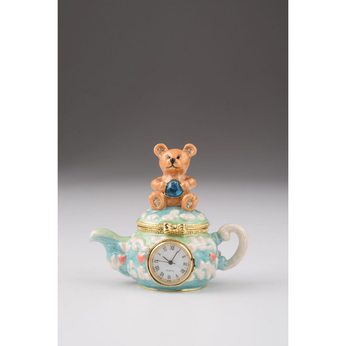 Bear with Clock Faberge Styled Trinket Box by Keren Kopal