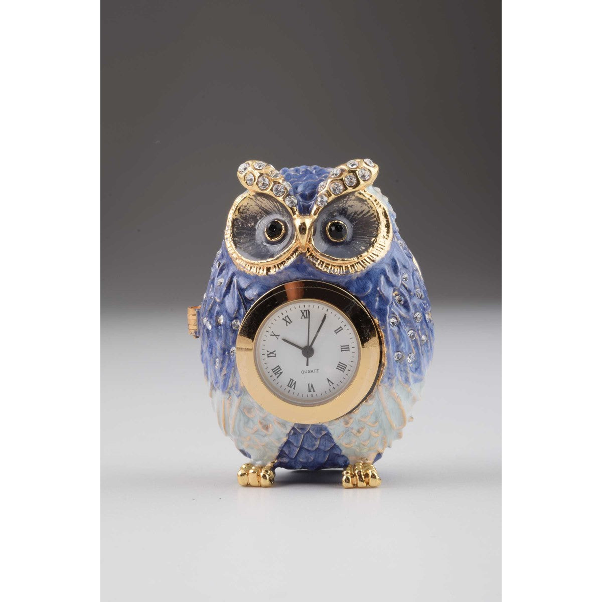 Owl with Clock Faberge Styled Trinket Box by Keren Kopal