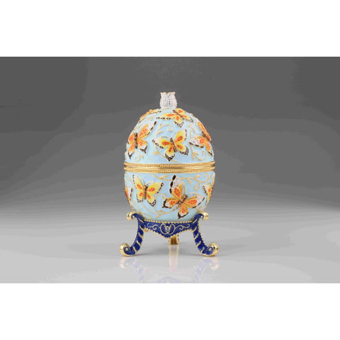 Blue Faberge Egg with Butterflies