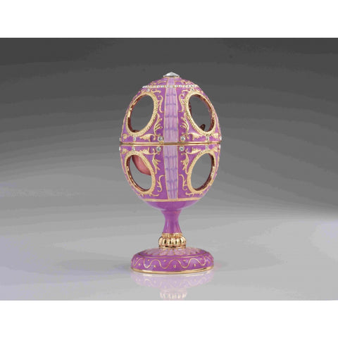 Pink Faberge Egg with Pink Rose Inside