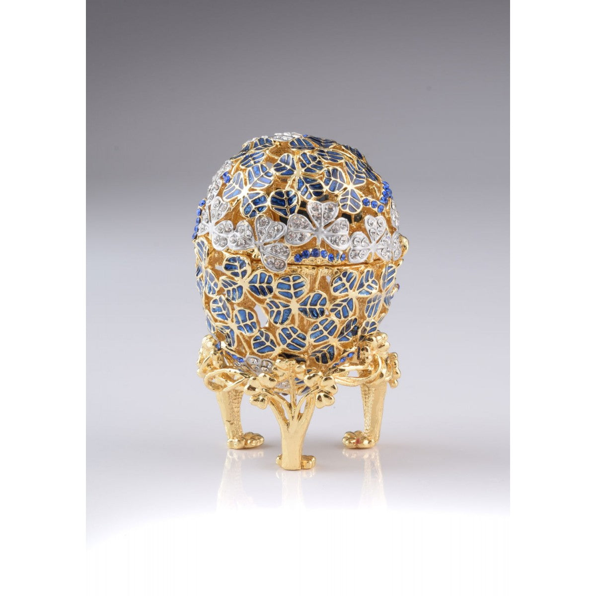Blue Faberge Egg with Car Inside
