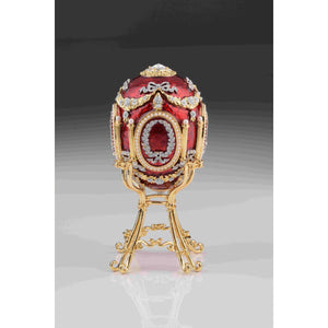 Red Faberge Egg with Swan Inside