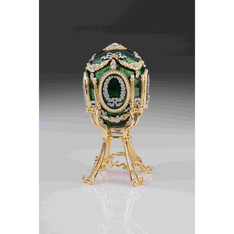 Green Faberge Egg with Swan Inside
