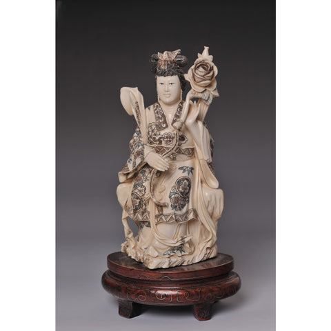 Mammoth ivory- Woman holding flower
