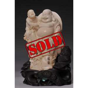 Mammoth Ivory- Happy Buddha with kid