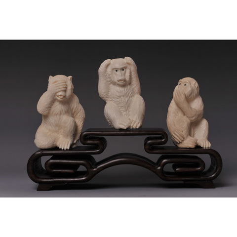 Mammoth Ivory- Three Wise monkeys