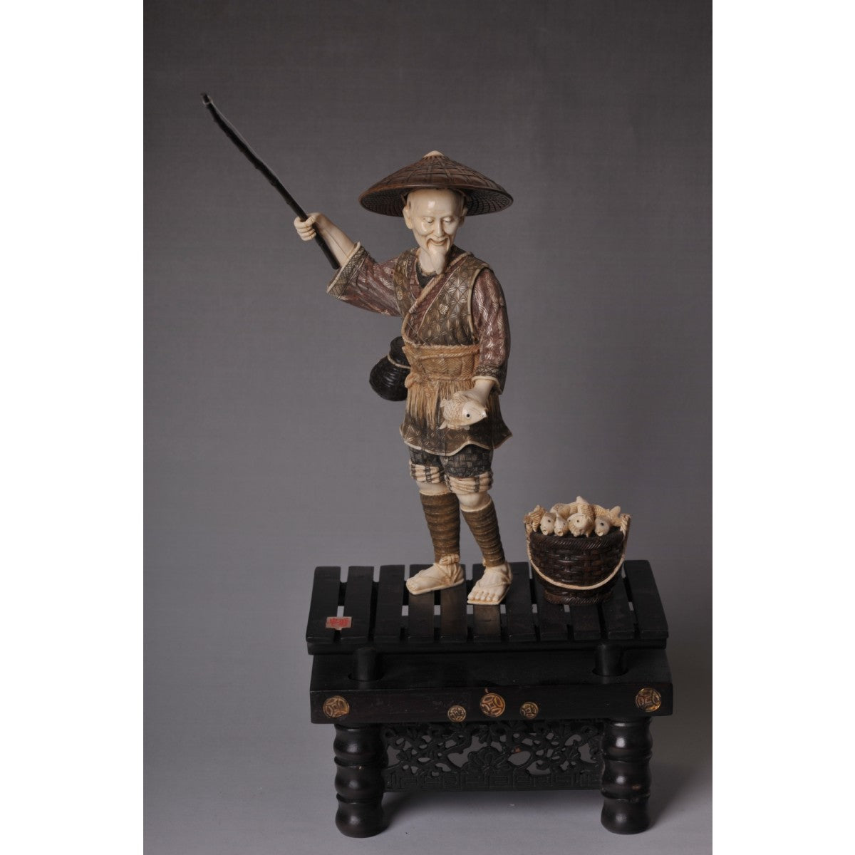 Mammoth Ivory- Scene of a Fisherman with Hat