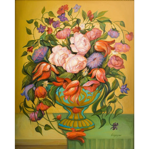 Colorful Flowers Vase by Marina Grigoryan