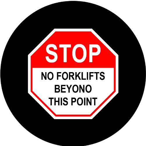 Stop No Forklifts Beyono This Point sign glass gobo pattern Instagobo