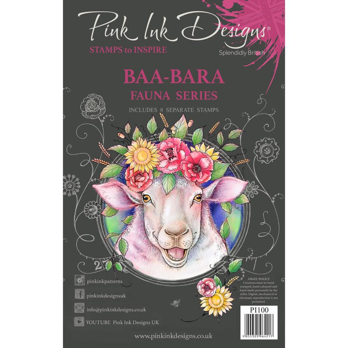 "Pink Ink Designs 6""x8"" Clear Stamps: Baa-Bara (PI100)"