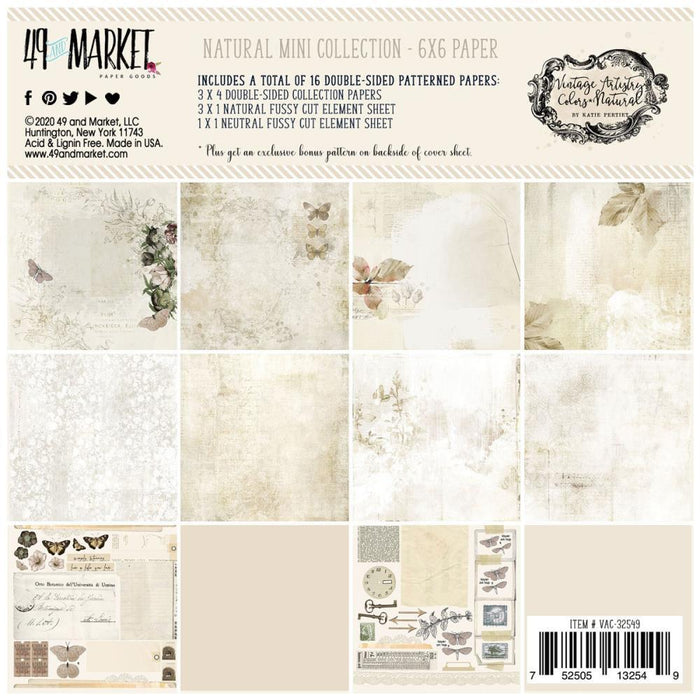 "49 And Market Paper Collection Pack 6""X6"": Vintage Artistry Natural (VAC32549)-Only One Life Creations"