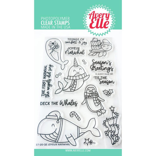 "Avery Elle 4""x6"" Clear Photopolymer Stamp Set: Joyeux Narwhal (AE2032)-Only One Life Creations"