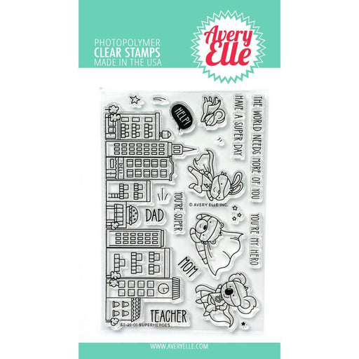 "Avery Elle 4""x6"" Clear Stamps: Superheros (AE2101)-Only One Life Creations"
