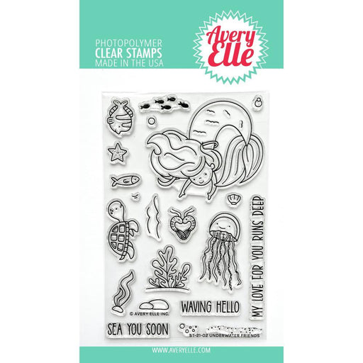 "Avery Elle 4""x6"" Clear Stamps: Underwater Friends (AE2102)-Only One Life Creations"