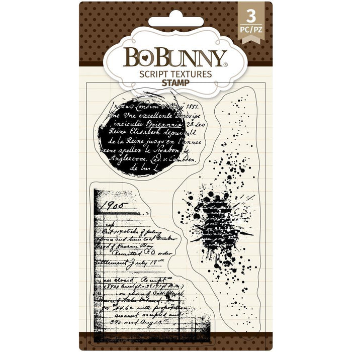"BoBunny 4""x6"" Clear Stamps: Script Texture (7311147)-Only One Life Creations"
