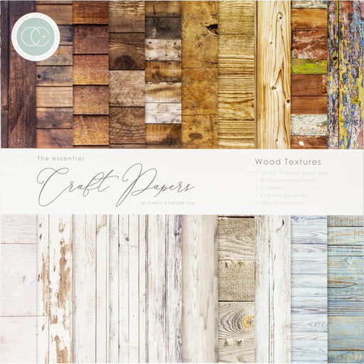 "Craft Consortium 12""X12"" Double-Sided Paper Pad: Wood Textures 30/Pkg (CCPAD001)-Only One Life Creations"