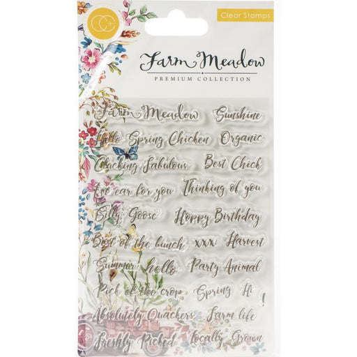 Craft Consortium A5 Clear Stamp: Farm Meadow, Sentiments (CSTMP028)-Only One Life Creations