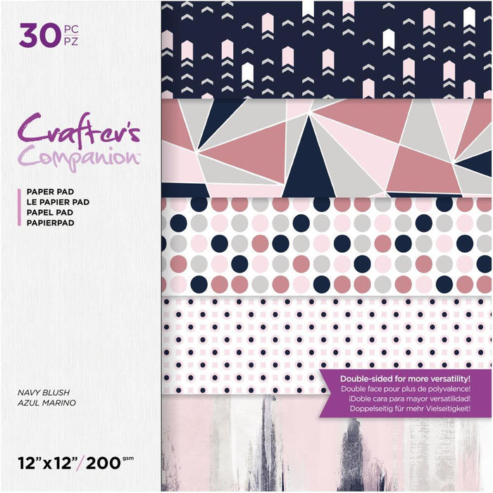 "Crafter's Companion 12""x12"" Double Sided Paper Pad: Navy Blush (12NAVY30)-Only One Life Creations"
