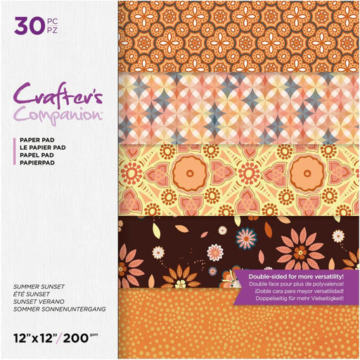 "Crafter's Companion 12""x12"" Double Sided Paper Pad: Summer Sunset (12SSUN30)-Only One Life Creations"
