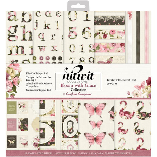 "Crafter's Companion 12""x12"" NitWits Die Cut Topper Pad: Bloom with Grace (BWGTOP12)-Only One Life Creations"