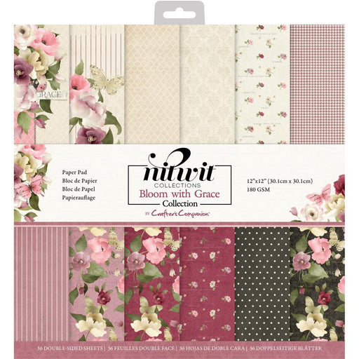 "Crafter's Companion 12""x12"" NitWits Paper Pad: Bloom with Grace (BWGPAD12)-Only One Life Creations"