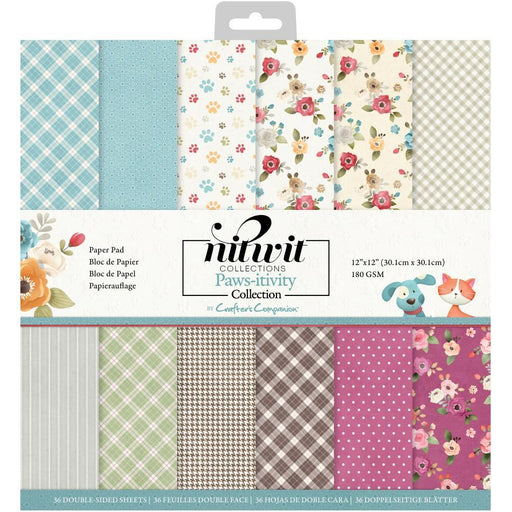 "Crafter's Companion 12""x12"" NitWits Paper Pad: Paws-itivity (PAWPAD12)-Only One Life Creations"