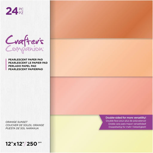 "Crafter's Companion 12""x12"" Pearl Paper Pad: Orange Sunset (12ORSU)-Only One Life Creations"