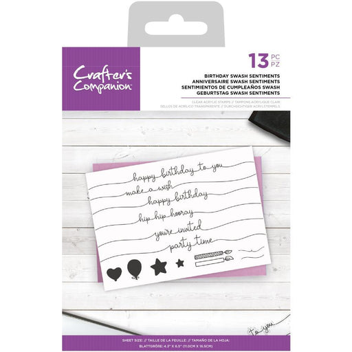 Crafter's Companion Clear Stamps: Birthday Swash Sentiments (CASTBSS)-Only One Life Creations