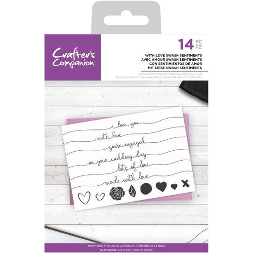 Crafter's Companion Clear Stamps: With Love Swash Sentiments (CASTLSS)-Only One Life Creations