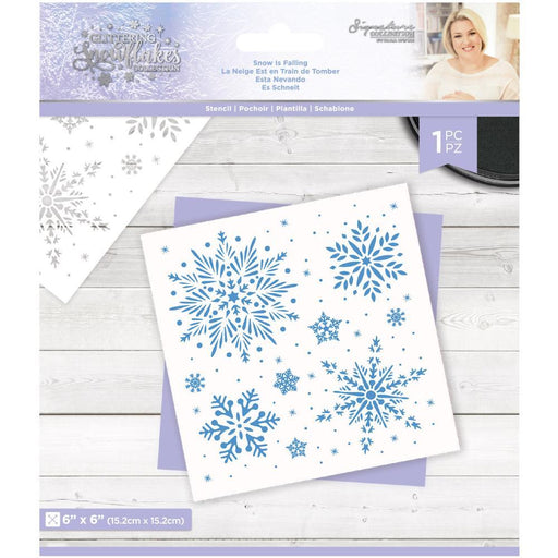 "Crafter's Companion Glittering Snowflakes 6""x6"" Stencil: Snow is Falling (GSSTSNFA)-Only One Life Creations"