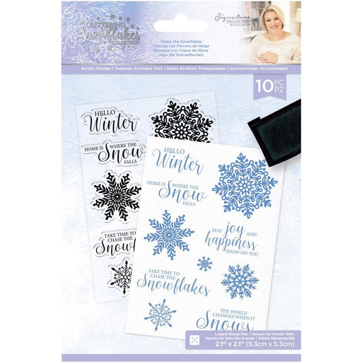 Crafter's Companion Glittering Snowflakes Clear Stamp: Chase The Snowflakes (GSSTCHTS)-Only One Life Creations