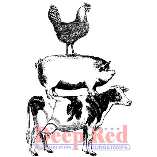 "Deep Red 2""x3"" Cling Stamp: Farm Animal Stack (3X505974)-Only One Life Creations"