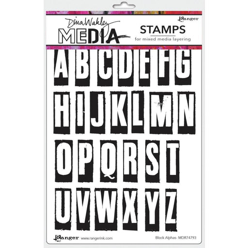 "Dina Wakley 6""x9"" Media Cling Stamps: Block Alpha (MDR74793)-Only One Life Creations"