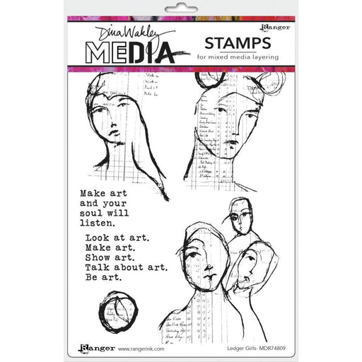 "Dina Wakley 6""x9"" Media Cling Stamps: Ledger Girls (MDR74809)-Only One Life Creations"