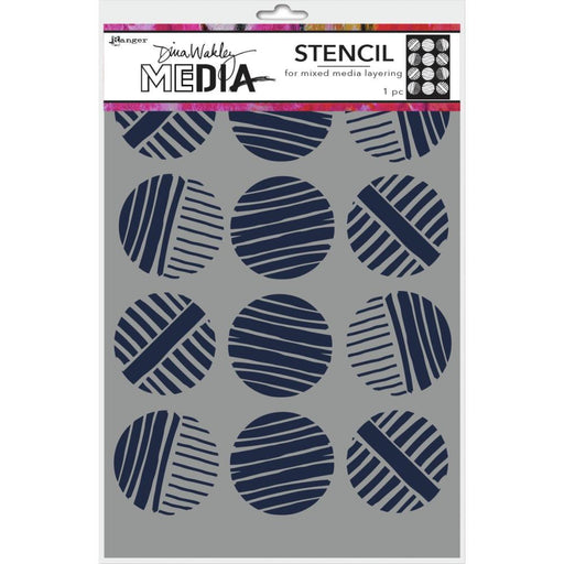 "Dina Wakley 9""x6"" Media Stencil: Lined Circles (MDS74878)-Only One Life Creations"
