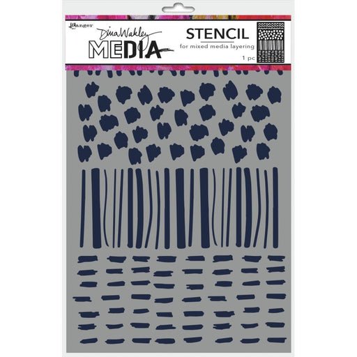 "Dina Wakley 9""x6"" Media Stencil: Marks (MDS74892)-Only One Life Creations"