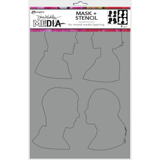"Dina Wakley 9""x6"" Media Stencil: Profiles (MDSM74885)-Only One Life Creations"