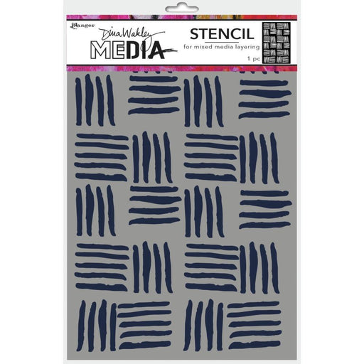 "Dina Wakley 9""x6"" Medial Stencil: Cross Hatch (MDS74854)-Only One Life Creations"