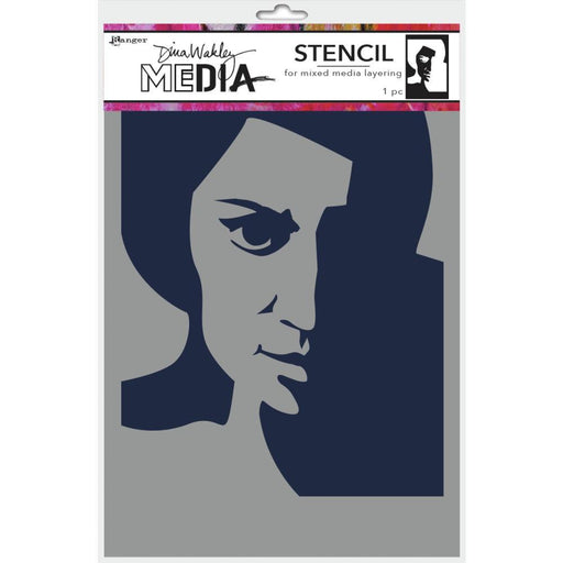 "Dina Wakley 9""x6"" Medial Stencil: Pensive Face (MDS74861)-Only One Life Creations"