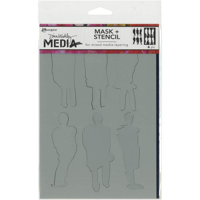 "Dina Wakley Media Stencils + Masks 6""X9"": Funky Silhouettes (MDS60604)-Only One Life Creations"