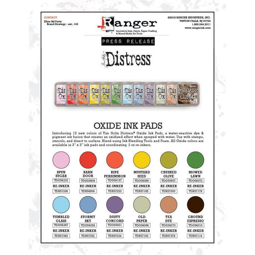 Distress Oxide ink pads Set #4 (mid 2018), by Tim Holtz, all 12 colors-Only One Life Creations