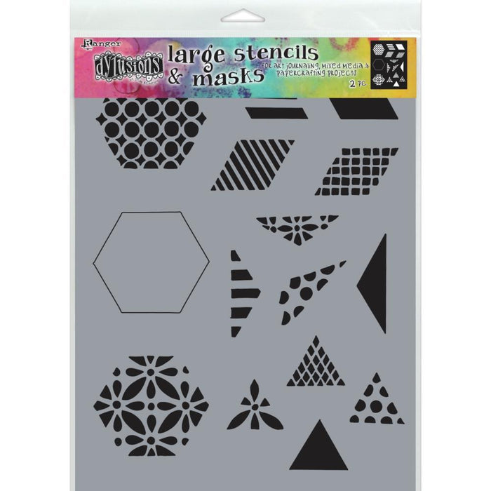 "Dylusions 9""x12"" Stencil: 1.5"" Quilt, by Dyan Reaveley (DYS75349)-Only One Life Creations"