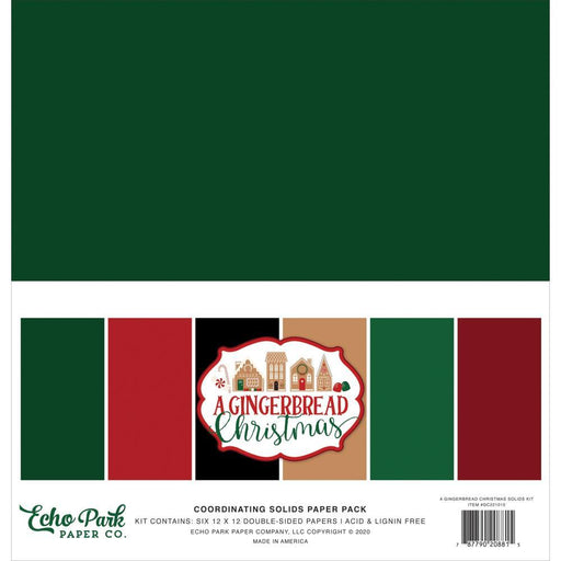 "Echo Park 12""x12"" Solid Double-Sided Cardstock: A Gingerbread Christmas (GC221015)-Only One Life Creations"