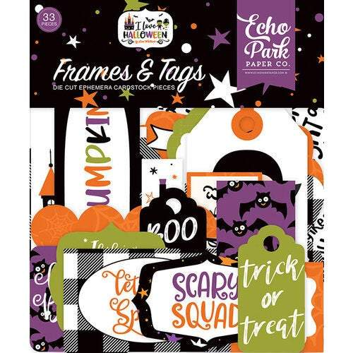 Echo Park Cardstock Ephemera 33/Pkg: Frames & Tags, I Love Halloween (LH218025)-Only One Life Creations