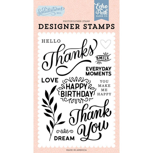Echo Park Clear Stamps: Thanks (AN244043)-Only One Life Creations
