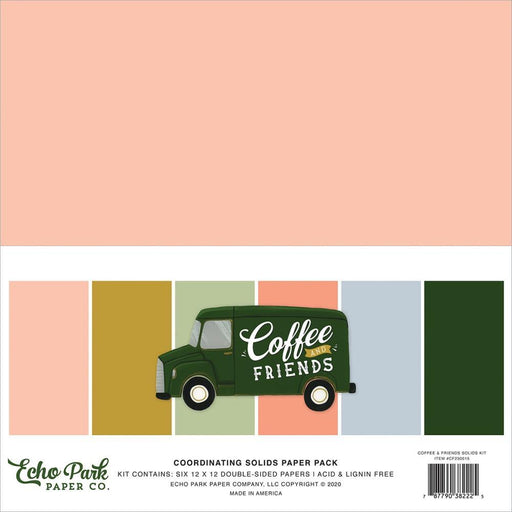 "Echo Park Coffee and Friends 12""x12"" Double Sided Solid Cardstock (CF230015)-Only One Life Creations"